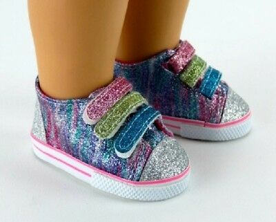 Rainbow Glitter Sneakers Sparkle Tennis for 18 American Girl Doll Shoes Clothes