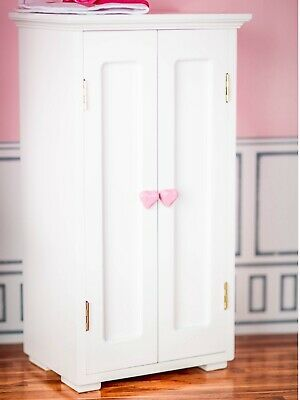 WHITE WOODEN WARDROBE CLOTHES CLOSET TRUNK Furniture For 18American Girl Doll