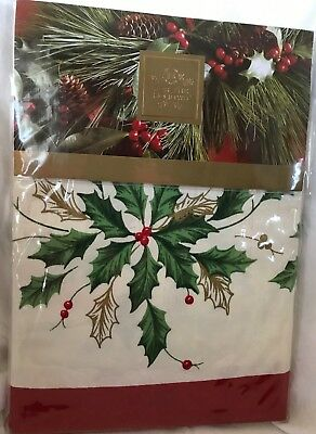Retired Lenox Golden Holly Ivy 60 x 84 Oblong Christmas Tablecloth - New in pkg