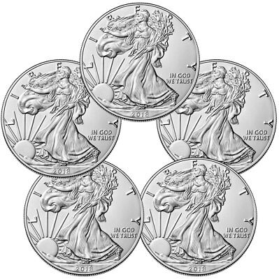 Lot of 5 Coins - 2018 American Silver Eagle 1 GEM BU Coin PRESALE SKU51560