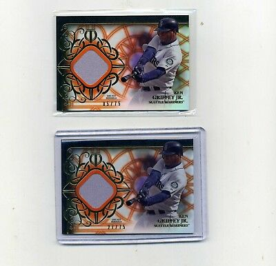 2015 Topps Tribute Ken Griffey Jr- Black Game used Jersey lot of 2 575 - -2775