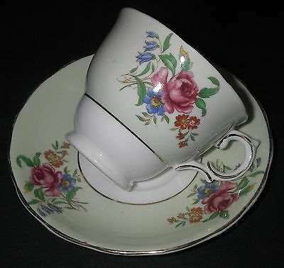 CUP - SAUCER Colclough Bone China England Floral Footed Scalloped ed Pale Green