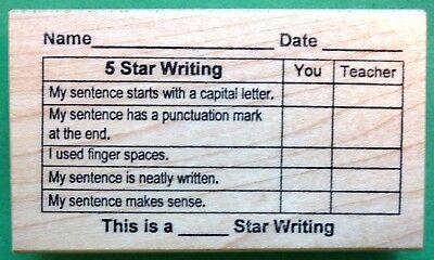 5-Star Writing Grid - Teachers Writing Rubber Stamp Wood Mounted