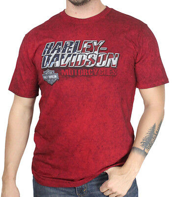 Harley-Davidson Mens Ride with Honor B-S Black Washed Red Short Sleeve T-Shirt