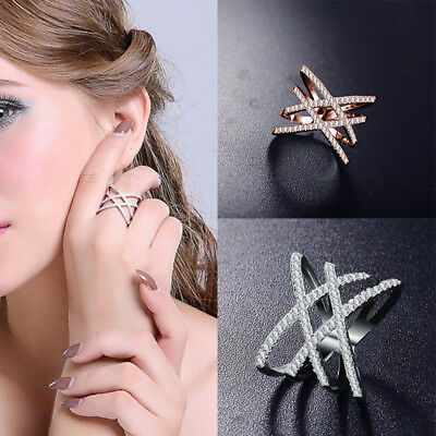 Chic Women Double Letter X Shape Zircon Ring Band Bride Wedding Party Jewelry