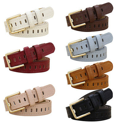 Fashion Woman Men Faux Leather Hollow Out Waistband Belt Thin Strap for Jeans