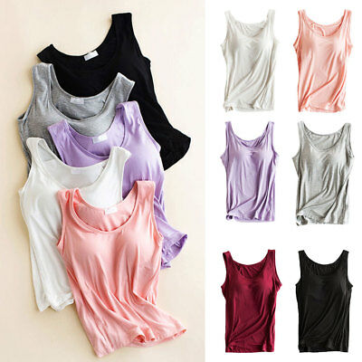 Sexy Woman Modal Active Strap Built In Padded Push Up Bra Tank Top Camisole Vest