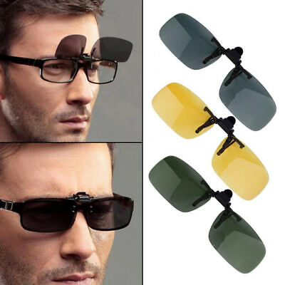 Mens Polarized Day Night Vision Flip-up Clip-on Lens Driving Glasses Sunglasses