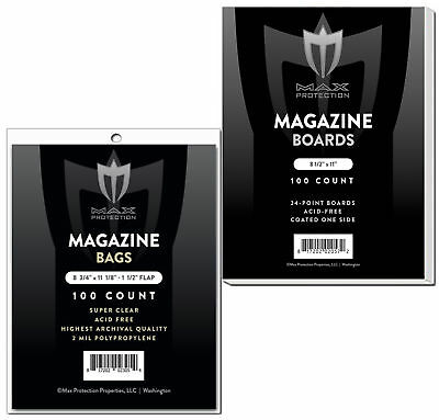 100 Max Pro Magazine 2-Mil Archival Poly Bags - 100 Acid Free Backer Boards