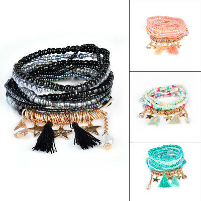Women Boho Tassel Multilayer Simulated Pearls Beads Bracelet Jewelry Party Gift