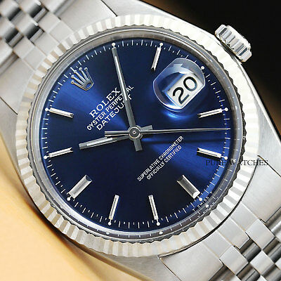AUTHENTIC ROLEX MENS DATEJUST 18K WHITE GOLD - STAINLESS STEEL BLUE DIAL WATCH