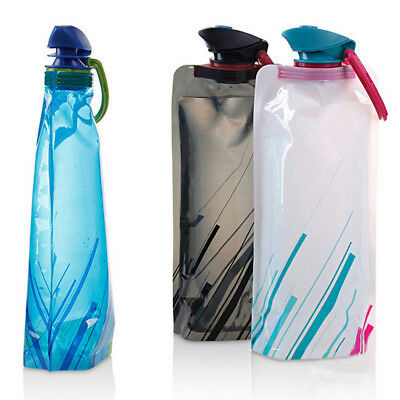 700ML Outdoor Camping Hiking Travel Foldable Collapsible Drink Water Bag Bottle