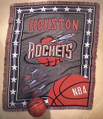 VINTAGE HOUSTON ROCKETS 48X60 WOVEN JACQUARD AFGHAN THROW BLANKET FREE SHIP