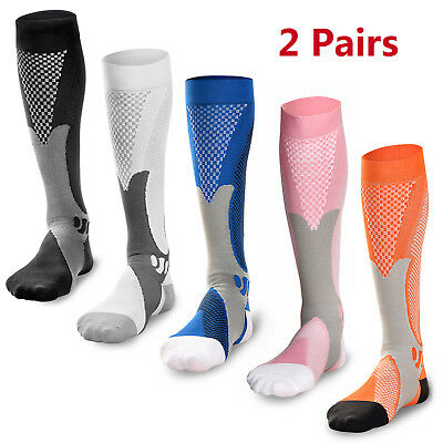 2 Pairs 30-40 mmhg Compression Knee High Stockings Relief Calf Leg Support Socks