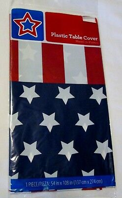 New plastic Stars - Stripes 4th of July Tablecloth 54 x 108