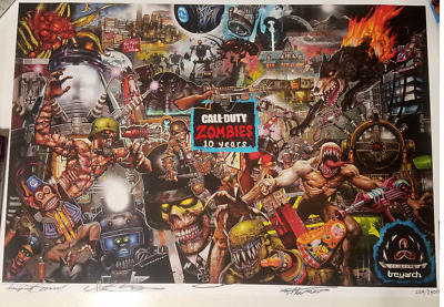 Call of Duty Black Ops 4 Zombies SD Comicon 2018 Exclusive AUTOGRAPHED Poster