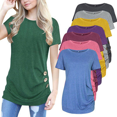 Women Casual Short Sleeve Tunic Top Round Neck T-Shirts Button Side Loose Blouse