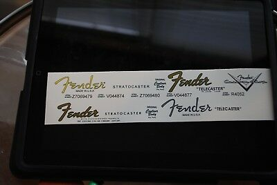 4 Fender Stratocaster and Telecaster Decals - 1 custom shop logo all waterslide