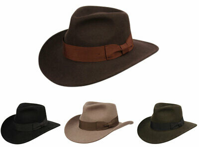 Premium Wool Felt Indiana Jones Fedora Hat wGrosgrain Band Crush-able Outback