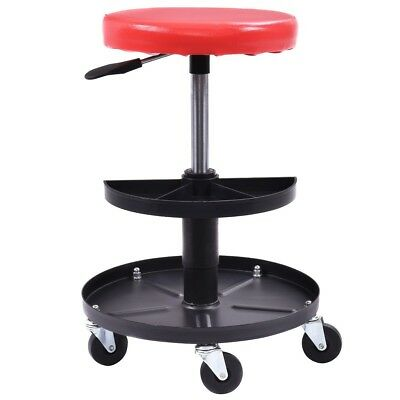 Round Adjustable Mechanics Rolling Creeper Seat Stool Chair Padded With Tray