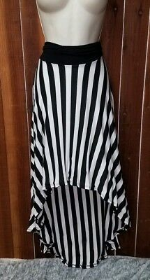 Womens Size Large Black - White Striped High-Low Hem Skirt by Wet Seal