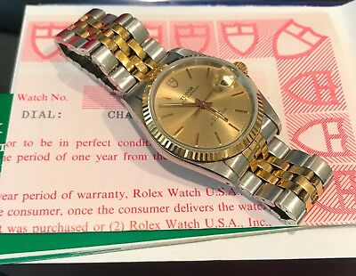 Tudor by Rolex Prince Oyster Date 74033 Watch 14K Gold Bezel Two-Tone Bracelet