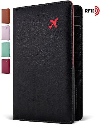 RFID Blocking 2 Passport Holder Travel Wallet ID Card Wallet for Men and Women