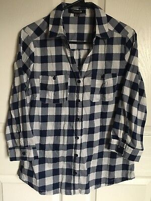 Forever 21 34 Sleeve Button Up Plaid Shirt Womens Size Large