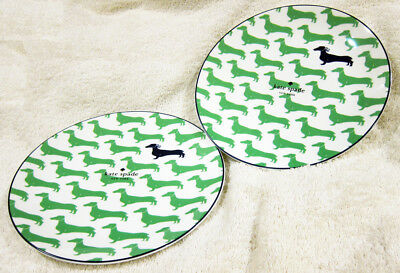 Kate Spade Wickford Dachshund Accent  Salad Plates Lenox GREEN Set of 2 9 NEW