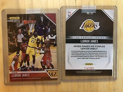 2018-19 PANINI INSTANT LEBRON JAMES LA LAKERS HOME DEBUT CARD SP 233 Made