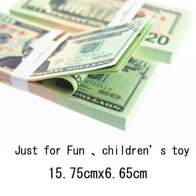 100 PCS 20 Dollar Play Prop Money Sided Life Size Full Print Double Sided Play