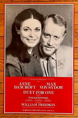 Duel for One Max Von Sydow Anne Bancroft autographs on 1981  Window Card