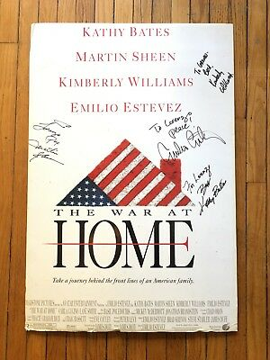 Autographed Poster WAR AT HOME Emilio Estevez Martin Sheen Kathy Bates VIETNAM