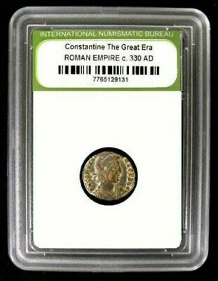 Slabbed Roman Constantine Great Era Ancient Bronze Coin c330 AD