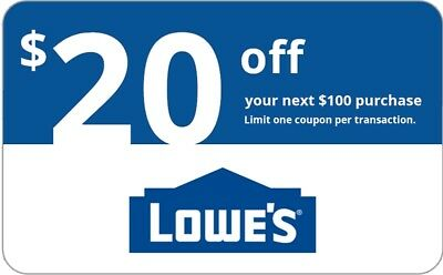 ONE Lowes 20 OFF 100 InStore and Online1Coupon-Fast Delivery- EXP 5 days