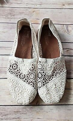 TOMS Natural ivory Crochet slip on Womens Shoes size 8-5
