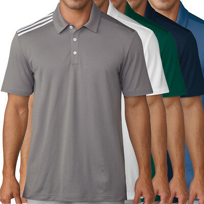 Adidas Golf Mens Essential 3 Stripe Polo Shirt New