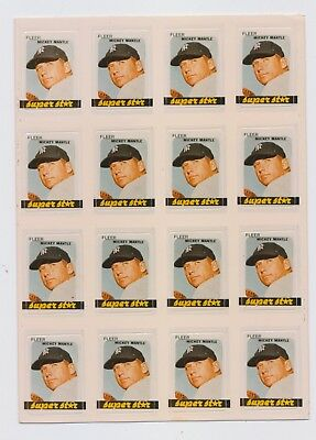 1981 FLEER  Mickey Mantle  STAR STICKER  Sheet New York Yankees