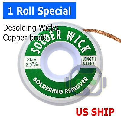 2-0mm Desoldering Braid Solder Remover Spool Copper Wick 5 ft 1-5m - USA Seller