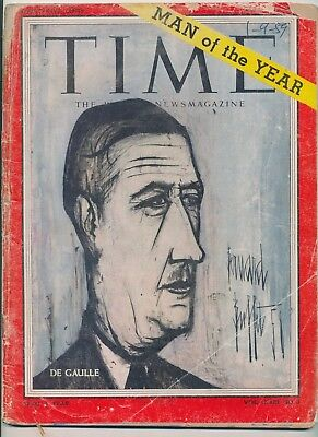 Charles DeGaulle Man Of the Year 1959 Time Magazine FREE WORLD WAR II BONUS