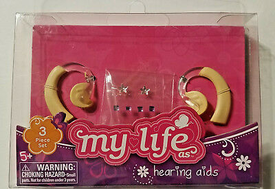 Set of 2 hearing aids - earring sticker sheet my life as fits 18 doll girl-NEW