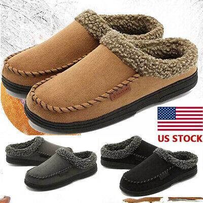 Mens Fur Lined Slippers Suede Moccasins Driving Loafers Slip On Cozy US Stock