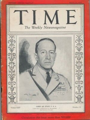 Time Magazine Douglas MacArthur Chief of Staff March 25 1935 - WW II BONUS