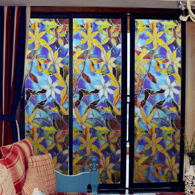 Static Cling Cover Stained Flower Glass Window Film Sticker Privacy Home Deco US