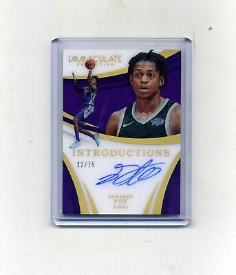2017-18 Panini Immaculate DeAaron Fox RC Introductions Acetate Autograph 2275