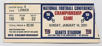 2001 NEW YORK GIANTS  NFL CHAMPIONSHIP VS MINNESOTA VIKINGS TICKET STUB
