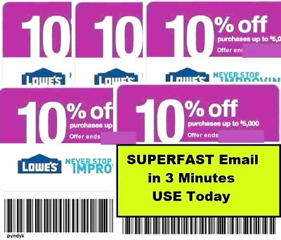 THREE 3X 10 OFF LOWES  Coupons - Lowes In storeonline FAST Delivry 1MIN-