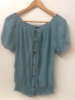 Womens Wet Seal Blue Green short sleeve peasant shirt blouse top S Small