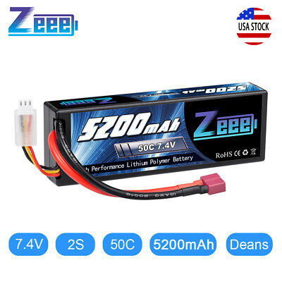 Zeee 50C 2S 5200mAh 7-4V Lipo Battery Hardcase Deans Plug for RC Car Truck Buggy