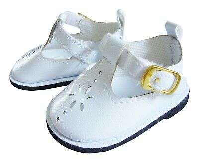 White T-Strap Shoes for 18 American Girl Doll Clothes